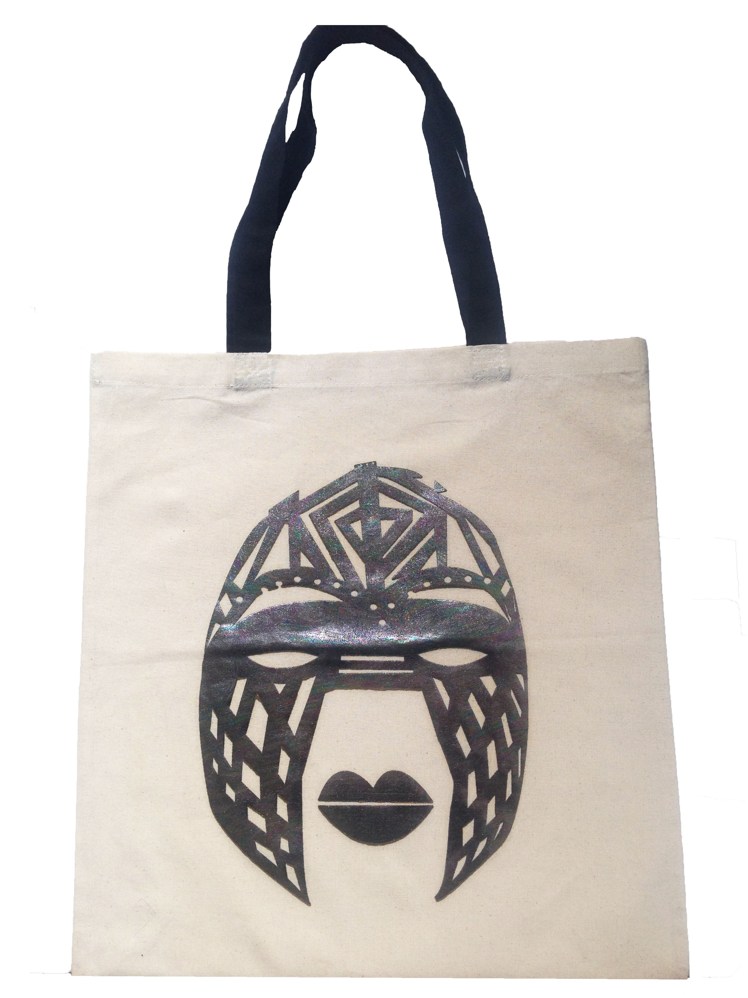 Line Tribal Mask  Bag (Tan)