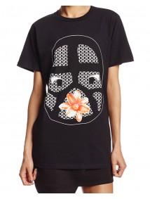 Tribal Flower Black T Shirt